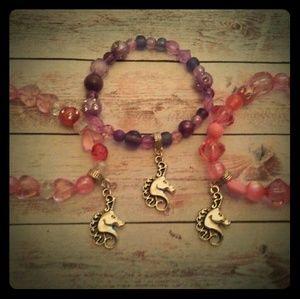 Other - Girls stretchy unicorn charm beaded bracelets